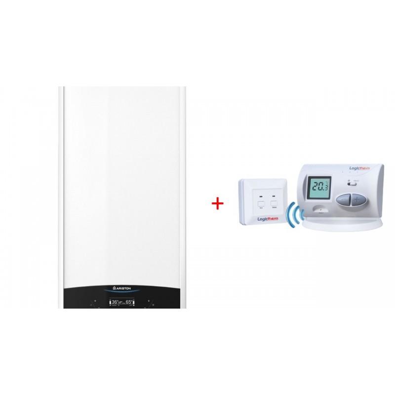 Centrala Ariston Genus One 24, kit evacuare si termostat digital wireless Logictherm C3RF incluse