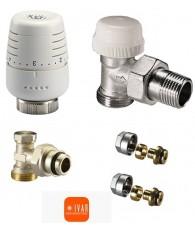 Set robineti IVAR - tur termostatabil + cap termostatic + retur + conectori teava PEX 16/2