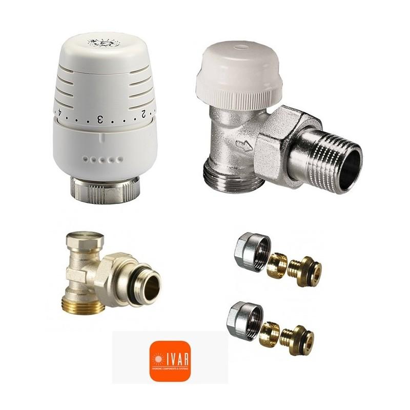 Set robineti IVAR - tur termostatabil + cap termostatic + retur + conector teava PEX 16/2