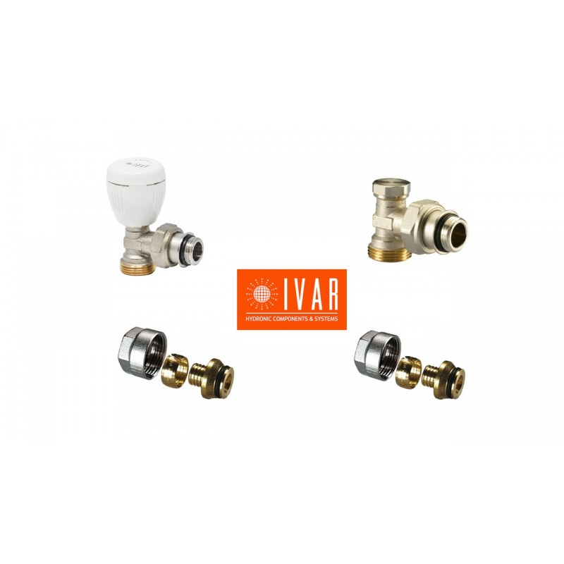 Set robineti IVAR - tur + retur + conectori teava PEX 16/2