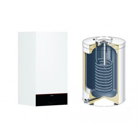 Centrala termica Viessmann Vitodens 100-W, 25 kW, condensare, touch screen, interfata WiFi, cu boiler monovalent Vitocell 200 l