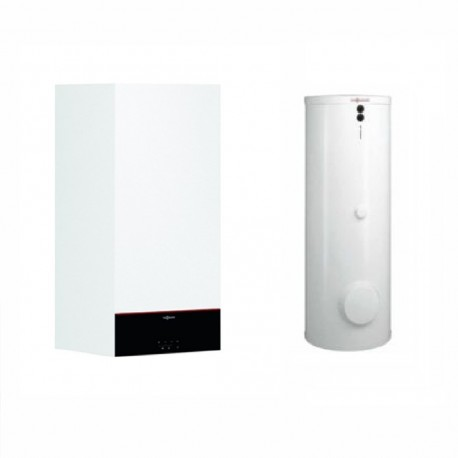 Centrala termica Viessmann Vitodens 100-W, 25 kW, condensare, touch screen, interfata WiFi, cu boiler monovalent Vitocell 120 l