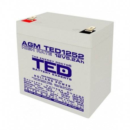 Acumulator stationar 12V 5,2Ah High Rate F2 AGM VRLA TED Electric TED1252