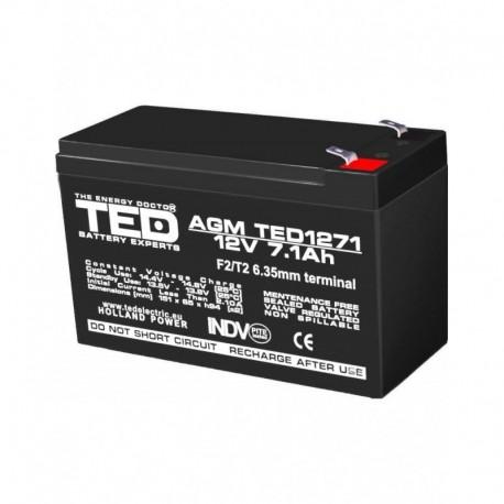 Acumulator stationar 12V 7,1Ah F2 AGM VRLA TED Electric TED1271F2