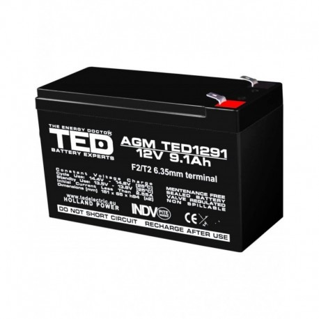 Acumulator stationar 12V 9,1Ah F2 AGM VRLA TED Electric TED1291