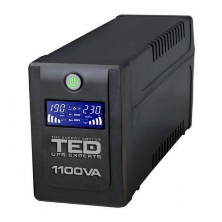 UPS TED Electric 1100VA / 600W Line Interactive cu 4 iesiri schuko si display LCD TED-1100