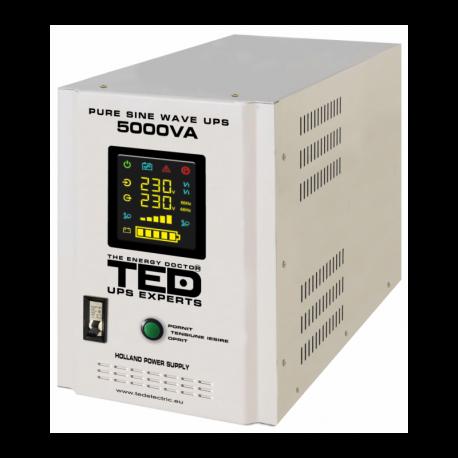 UPS pentru centrala TED Electric 5000VA / 3500W Runtime extins utilizeaza 2 acumulatori (neinclusi)