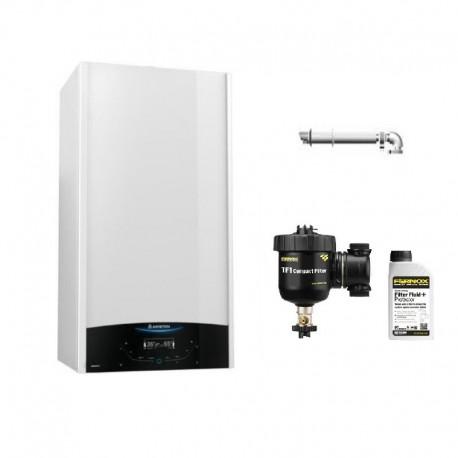 Centrala Ariston Genus One 24 kW, kit de evacuare, filtru antimagnetita Fernox TF1 Compact+fluid protector incluse